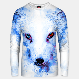 Thumbnail image of arctic fox bicolor eyes ws c80 Unisex sweater, Live Heroes