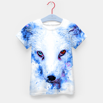 Thumbnail image of arctic fox bicolor eyes ws c80 Kid's t-shirt, Live Heroes