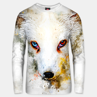 Thumbnail image of arctic fox bicolor eyes ws std Unisex sweater, Live Heroes