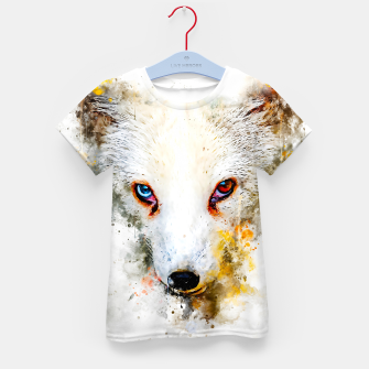 Thumbnail image of arctic fox bicolor eyes ws std Kid's t-shirt, Live Heroes