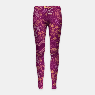 Thumbnail image of Hearts in purple Girl's leggings, Live Heroes