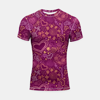 Thumbnail image of Hearts in purple Shortsleeve rashguard, Live Heroes