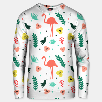 Thumbnail image of Pink flamingos & tropical flowers pattern Unisex sweater, Live Heroes