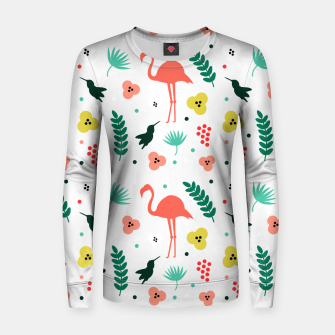 Thumbnail image of Pink flamingos & tropical flowers pattern Women sweater, Live Heroes