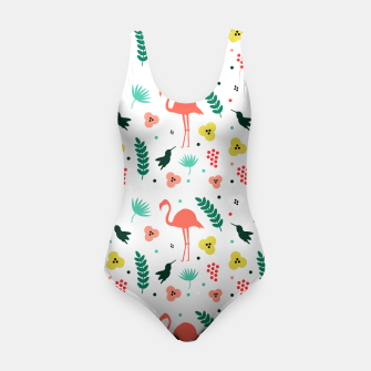 Thumbnail image of Pink flamingos & tropical flowers pattern Swimsuit, Live Heroes