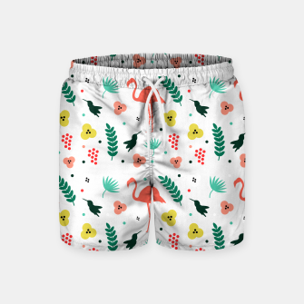 Thumbnail image of Pink flamingos & tropical flowers pattern Swim Shorts, Live Heroes