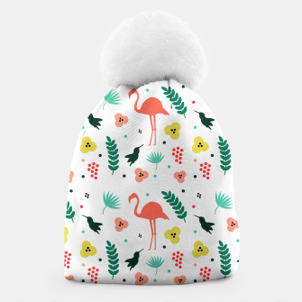 Thumbnail image of Pink flamingos & tropical flowers pattern Beanie, Live Heroes