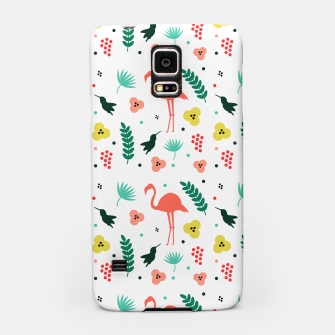 Thumbnail image of Pink flamingos & tropical flowers pattern Samsung Case, Live Heroes