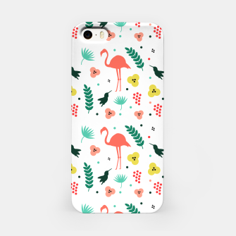 Thumbnail image of Pink flamingos & tropical flowers pattern iPhone Case, Live Heroes
