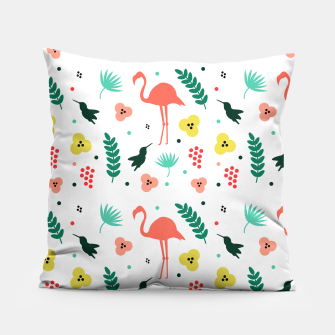 Thumbnail image of Pink flamingos & tropical flowers pattern Pillow, Live Heroes
