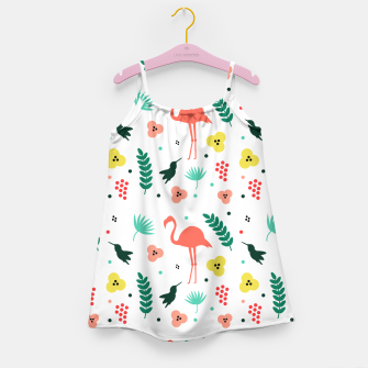 Thumbnail image of Pink flamingos & tropical flowers pattern Girl's dress, Live Heroes