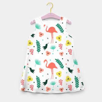 Thumbnail image of Pink flamingos & tropical flowers pattern Girl's summer dress, Live Heroes