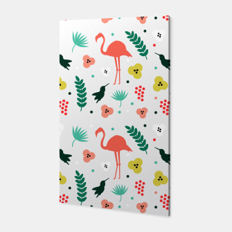 Thumbnail image of Pink flamingos & tropical flowers pattern Canvas, Live Heroes