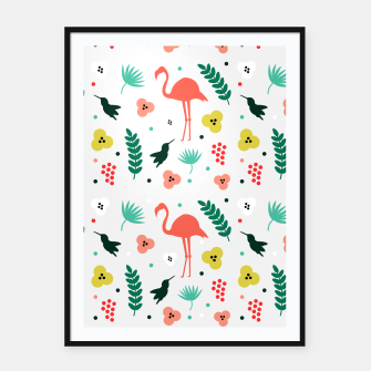 Thumbnail image of Pink flamingos & tropical flowers pattern Framed poster, Live Heroes