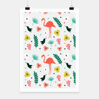 Thumbnail image of Pink flamingos & tropical flowers pattern Poster, Live Heroes