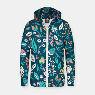 Miniatur Cute colorful mixed flowers pattern Zip up hoodie, Live Heroes