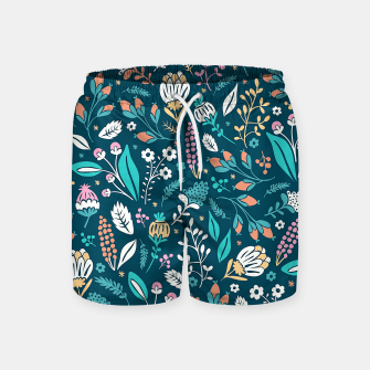Miniatur Cute colorful mixed flowers pattern Swim Shorts, Live Heroes