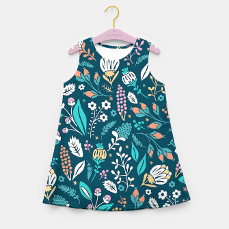 Miniatur Cute colorful mixed flowers pattern Girl's summer dress, Live Heroes