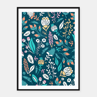 Miniatur Cute colorful mixed flowers pattern Framed poster, Live Heroes