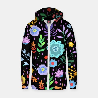 Thumbnail image of Cute colorfu flowers pattern Zip up hoodie, Live Heroes