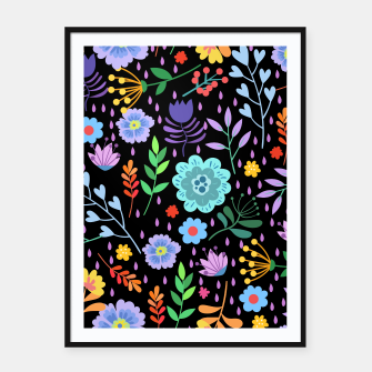 Thumbnail image of Cute colorfu flowers pattern Framed poster, Live Heroes