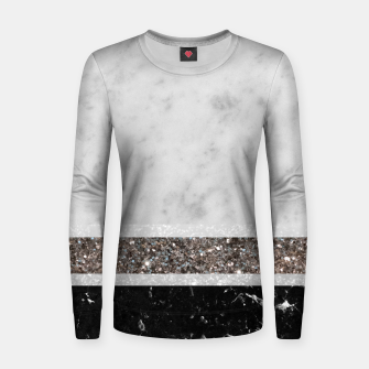 Miniaturka White and Black Marble Silver Glitter Stripe Glam #1 #minimal #decor #art  Frauen sweatshirt, Live Heroes