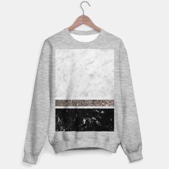 Miniaturka White and Black Marble Silver Glitter Stripe Glam #1 #minimal #decor #art  Sweatshirt regulär, Live Heroes