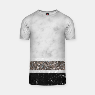 Miniaturka White and Black Marble Silver Glitter Stripe Glam #1 #minimal #decor #art  T-Shirt, Live Heroes