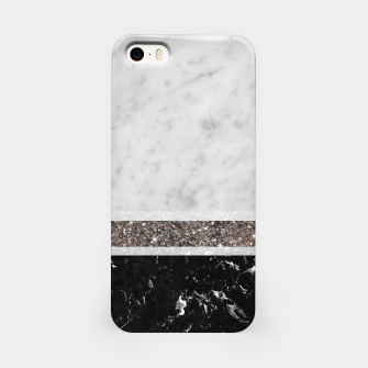 Miniaturka White and Black Marble Silver Glitter Stripe Glam #1 #minimal #decor #art  iPhone-Hülle, Live Heroes