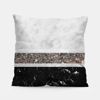 Miniaturka White and Black Marble Silver Glitter Stripe Glam #1 #minimal #decor #art  Kissen, Live Heroes