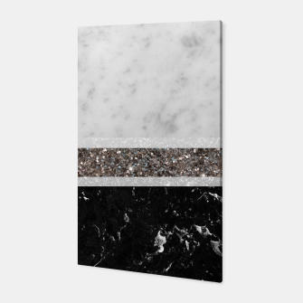 Miniaturka White and Black Marble Silver Glitter Stripe Glam #1 #minimal #decor #art  Canvas, Live Heroes