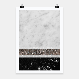 Miniaturka White and Black Marble Silver Glitter Stripe Glam #1 #minimal #decor #art  Plakat, Live Heroes