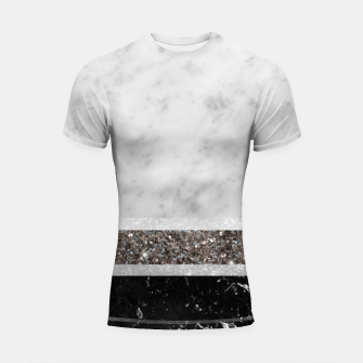 Miniaturka White and Black Marble Silver Glitter Stripe Glam #1 #minimal #decor #art  Shortsleeve rashguard, Live Heroes