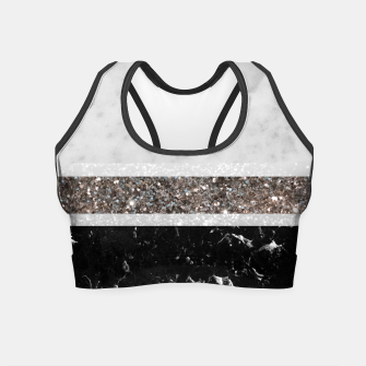 Miniaturka White and Black Marble Silver Glitter Stripe Glam #1 #minimal #decor #art  Crop Top, Live Heroes