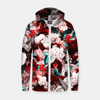 Thumbnail image of hummingbird paradise ethereal autumn flower pattern 2s Zip up hoodie, Live Heroes