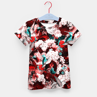 Thumbnail image of hummingbird paradise ethereal autumn flower pattern 2s Kid's t-shirt, Live Heroes