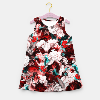 Thumbnail image of hummingbird paradise ethereal autumn flower pattern 2s Girl's summer dress, Live Heroes