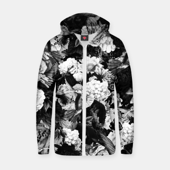 Miniaturka hummingbird paradise ethereal autumn flower pattern bw Zip up hoodie, Live Heroes