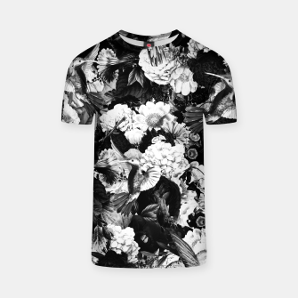 Thumbnail image of hummingbird paradise ethereal autumn flower pattern bw T-shirt, Live Heroes