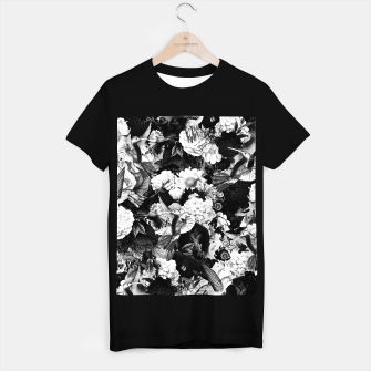 Thumbnail image of hummingbird paradise ethereal autumn flower pattern bw T-shirt regular, Live Heroes