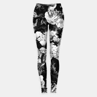 Miniature de image de hummingbird paradise ethereal autumn flower pattern bw Leggings, Live Heroes