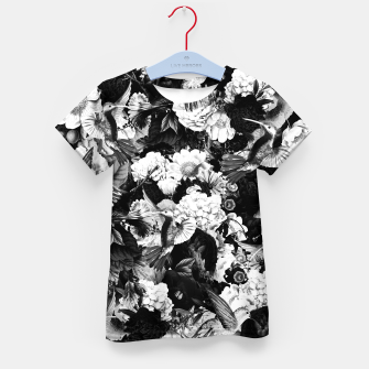 Thumbnail image of hummingbird paradise ethereal autumn flower pattern bw Kid's t-shirt, Live Heroes