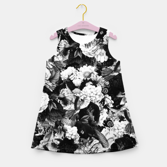 Thumbnail image of hummingbird paradise ethereal autumn flower pattern bw Girl's summer dress, Live Heroes