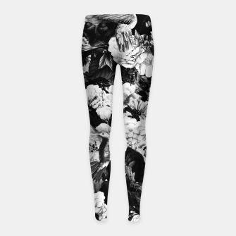 Thumbnail image of hummingbird paradise ethereal autumn flower pattern bw Girl's leggings, Live Heroes