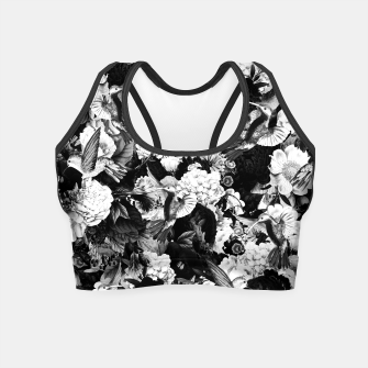 Thumbnail image of hummingbird paradise ethereal autumn flower pattern bw Crop Top, Live Heroes
