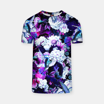Thumbnail image of hummingbird paradise ethereal autumn flower pattern c80 T-shirt, Live Heroes