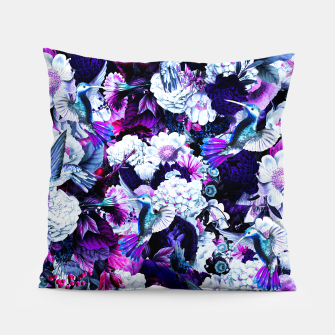 Miniatur hummingbird paradise ethereal autumn flower pattern c80 Pillow, Live Heroes