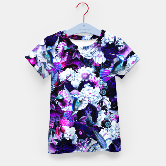 Thumbnail image of hummingbird paradise ethereal autumn flower pattern c80 Kid's t-shirt, Live Heroes