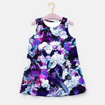 Thumbnail image of hummingbird paradise ethereal autumn flower pattern c80 Girl's summer dress, Live Heroes