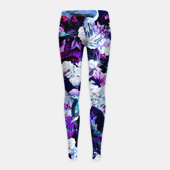 Thumbnail image of hummingbird paradise ethereal autumn flower pattern c80 Girl's leggings, Live Heroes